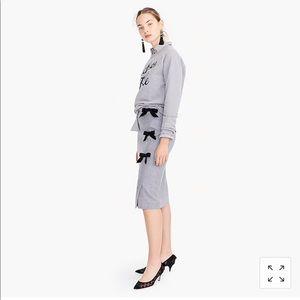 J.Crew Bow Seam Pencil Skirt Wool grey H4889 NWT